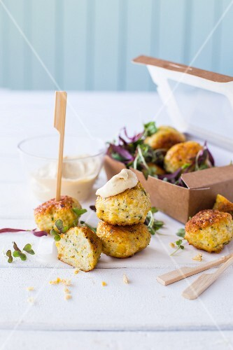 Mini chicken bites with cheese and basil
