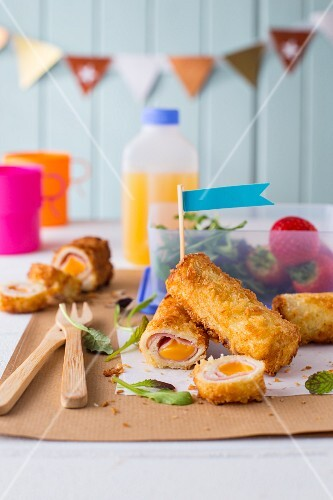 French toast rolls with ham and Cheddar cheese