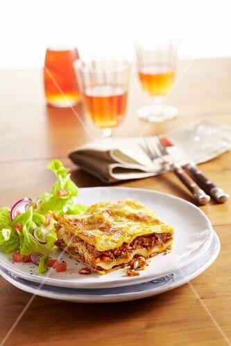 A portion of lasagne bolognese