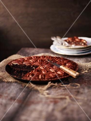 Chocolate and pecan nut tart