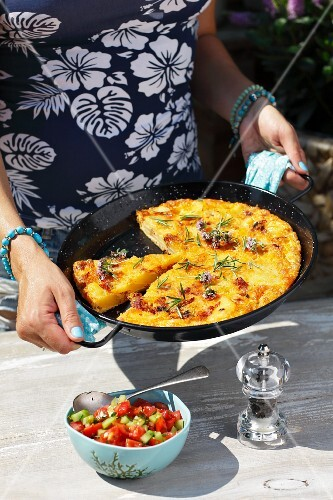 Potato tortilla with chorizo and tomato salsa