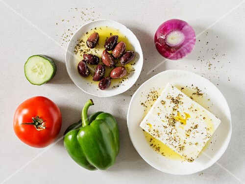 Ingredients for a Greek country salad (Horiatiki, Greece)