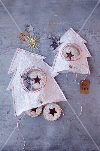 Jammy shortbread biscuits in homemade paper bags as a gift