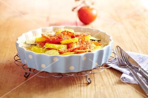 A tomato and potato gratin