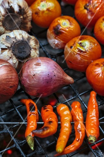 Vegetables on a barbecue