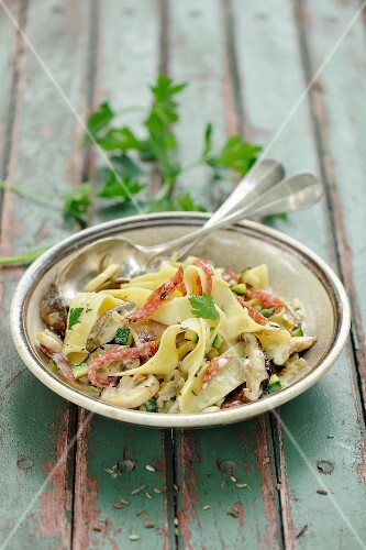 Tagliatelle with strips of salami and a mushroom sauce