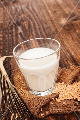 A glass of cereal milk