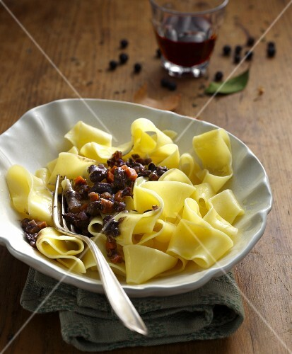 Pappardelle alla lepre (pappardelle with rabbit ragout, Italy)