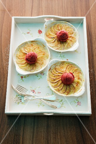 Potato and apple gratin with berry ice cream