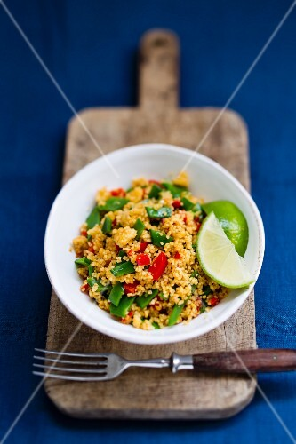 Couscous salad with mange tout