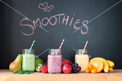 Three different fruit smoothies