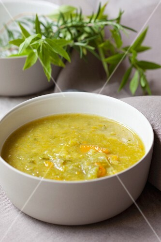 Vegetable soup and fresh herbs