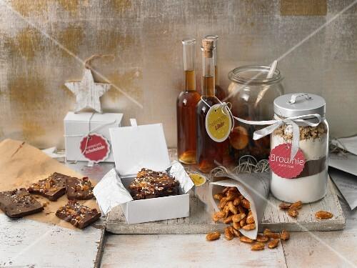 Homemade Christmas presents: brownies and liqueur