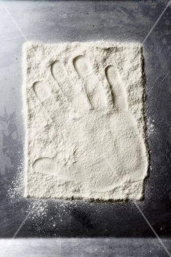 A hand print in flour (seen from above)