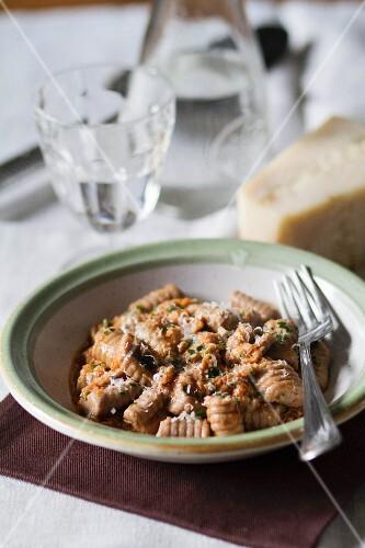 Gnocchi di castagne (chestnut gnocchi with Parmesan cheese, Italy)