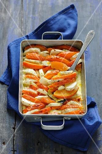 Pumpkin gratin with celeriac