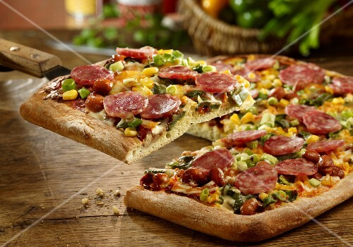A pepper, chilli and salami pizza