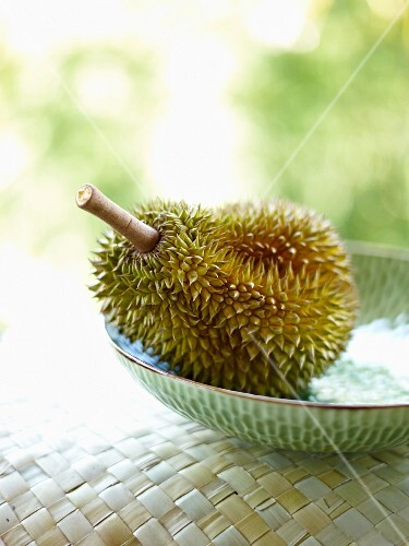 A durian in a bowl
