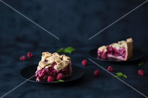 Two slices of raspberry tart