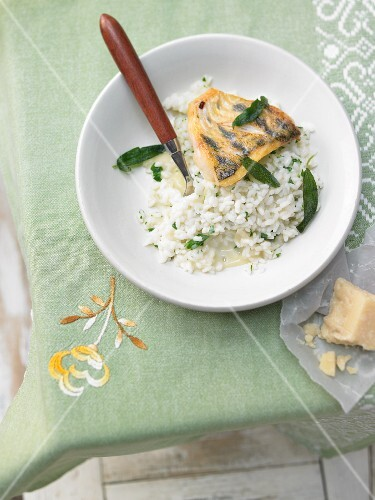 Risotto with perch fillet