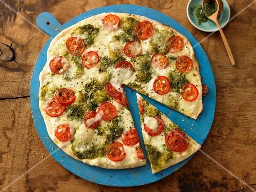 Tomato and mozzarella tarte flambée