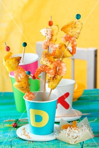 Prawn skewers with pineapple