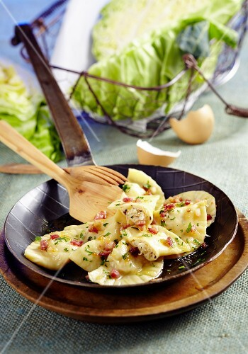 Pierogi filled with cabbage and bacon (Poland)