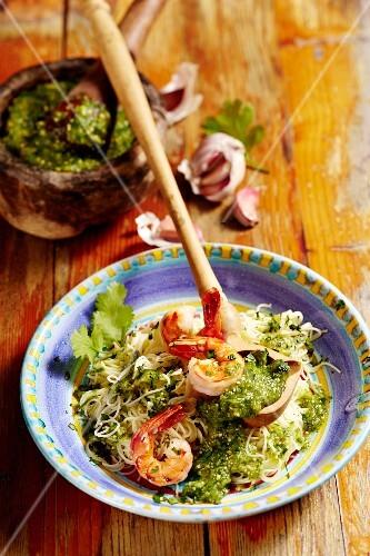 Fideos con salsa verde (vermicelli with green sauce)