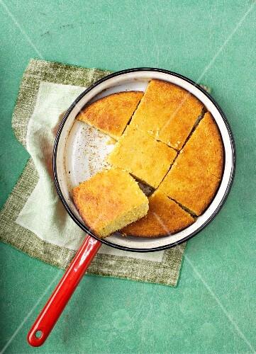 Cornbread in a saucepan
