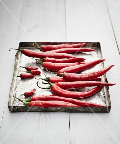 Fresh red chilli peppers on an old baking tray