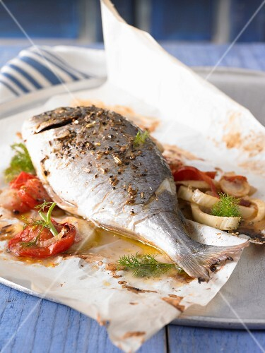 Seabream in parchment paper