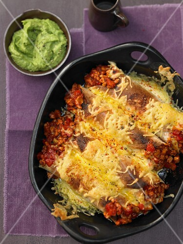 Chicken burritos with cheese and guacamole (Mexico)