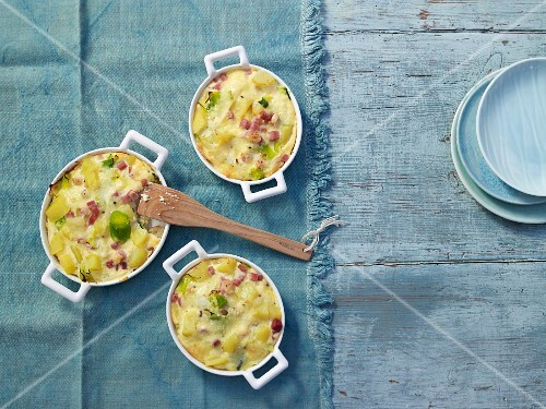 Potato and leek bake with ham