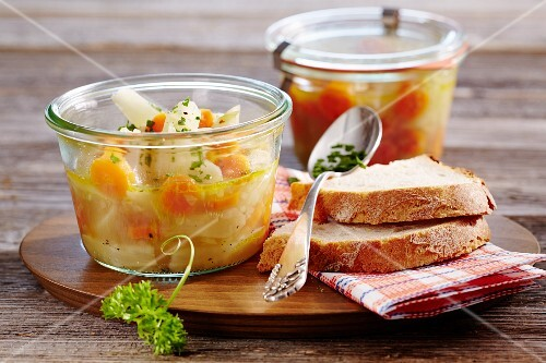 A pickled black salsify and carrot medley with bread