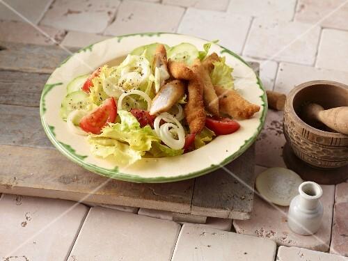 Escalopes on a mixed leaf salad