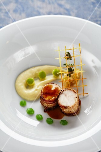 Rabbit wrapped in bacon with green apple and horseradish sauce