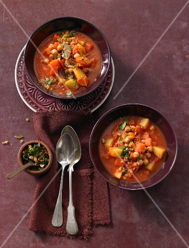 Chickpea stew with potatoes and carrots