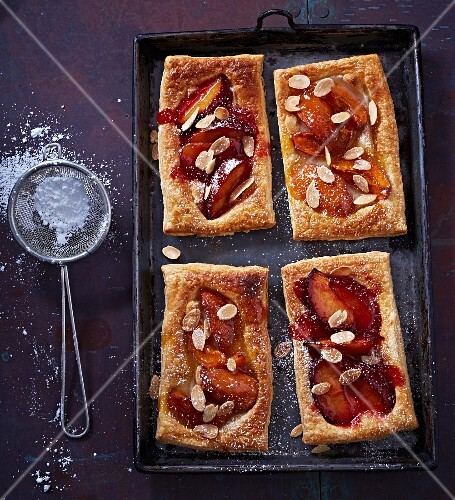 Peach and almond puff pastry slices