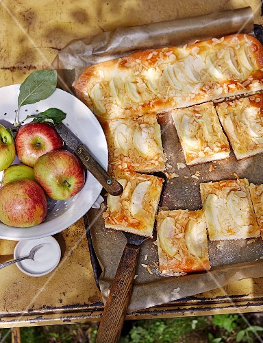 Tray bake apple cake with marzipan
