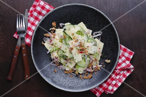 Cheese salad with cucumber and roasted onions (Denmark)