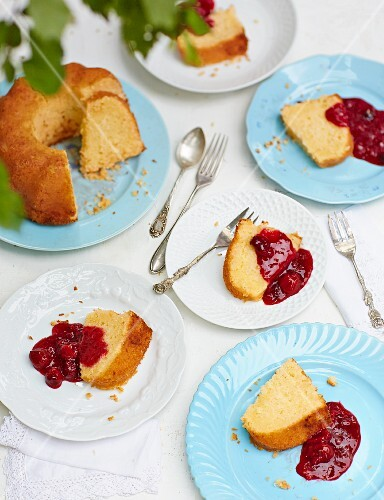 Coconut and lime cake with red berry jelly