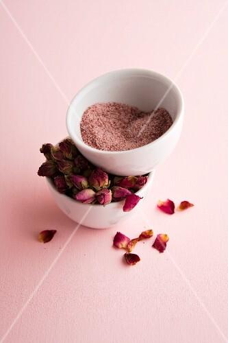 Homemade rose salt