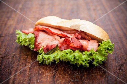 Redwood salmon and lettuce on a roll