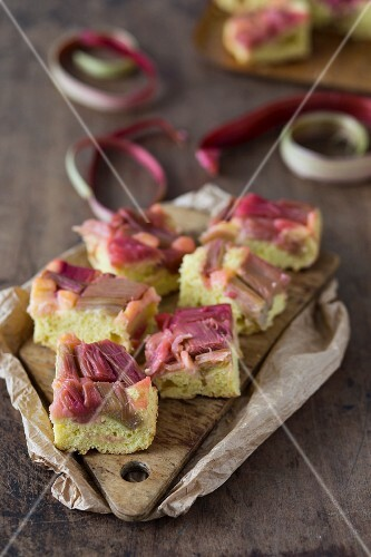 Rhubarb cake on a wooden board