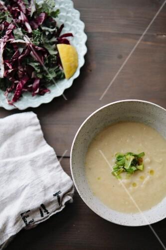Celeriac soup and radicchio salad