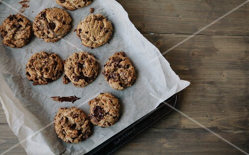 Chocolate chunk cookies on a baking tray