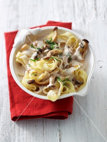 King trumpet mushrooms with tagliatelle