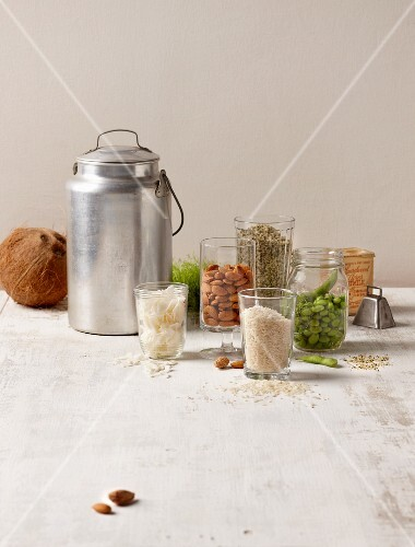 An arrangement of vegan milk substitutes