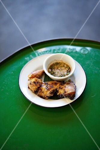 Oriental chicken with a chilli dip