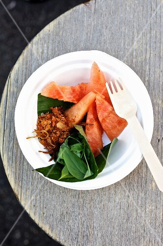 Oriental watermelon salad with Thai herbs and peanut and coconut brittle